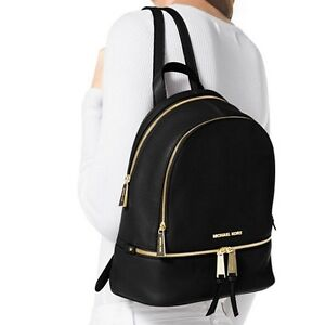 Neuf MICHAEL KORS Sac à Dos RHEA  GRAND  Backpack  Noir  Cuir  L