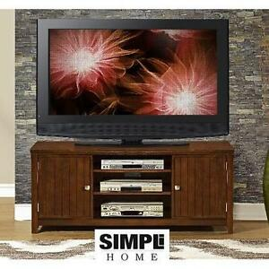 NEW SIMPLI HOME ACADIAN TV STAND ACADIAN COLLECTION TV STAND RICH TOBACCO BROWN 100308327