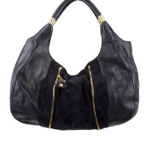 Authentic Jimmy Choo Suede Accented Black Hobo Bag