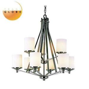 NEW*  9 LIGHT 2 TIER CHANDELIER 7929BN 217821946 TRANS GLOBE LIGHTING  FROSTED CYLINDER