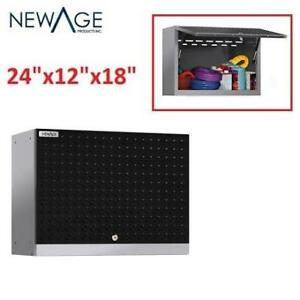 "NEW* WALL MOUNTED CABINET 55500 224908387 NewAge Products Performance Diamond Plate 2.0 18""H x 24"" W x 12""D Steel garage"