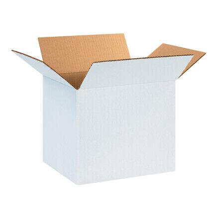 """14 x 10 x 10"""" White Corrugated Boxes - 25 Per Bundle"""