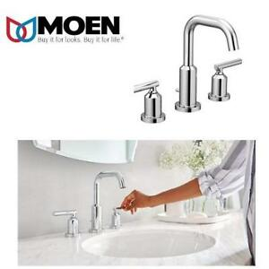 NEW MOEN BATHROOM FAUCET T6142 227207601 Gibson Two Handle Widespread High Arc Chrome
