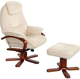 Relaxer chair with foot stool - Beige fabric, Excellent condition, Like new