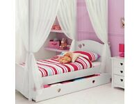 White wooden single bed with posts and curtains (storage drawer not included)
