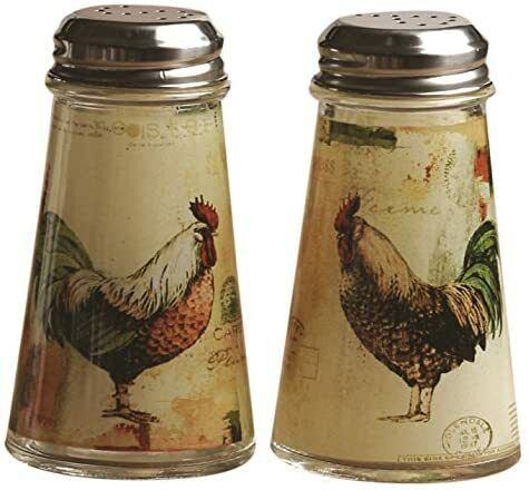 Circleware Rooster Salt & Pepper Shakers 2 Piece Set 4 Oz. Comfortable Durable