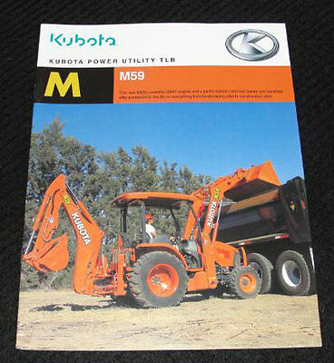 Original Kubota M59 M 59 Tractor Loader Backhoe Catalog Brochure Very Nice