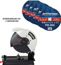 "JEFFERSON 14"" METAL CUT OFF MITRE SAW 110V + 5X 14"" METAL CUTTING ABRASIVE DISC"