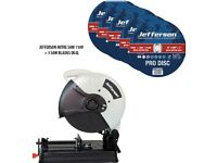 "JEFFERSON 14"" METAL CUT OFF MITRE SAW 110V + 5X 14"" METAL CUTTING ABRASIVE DISC"