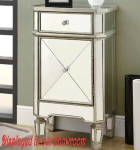 MIRRORED NIGHT TABLE WITH ONE DRAWER & PULLOUT DOOR - DEBBIE
