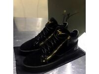 MENS GUISEPPE ZANOTTI HIGH TOP BLACK GOLD SUEDE SNEAKERS SIZE 42 8 9 BRAND NEW