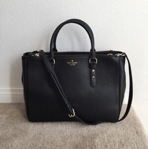 Kate Spade ♠️ Mulberry Street Leighann Black Leather Tote, EUC
