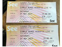 Simple Minds Front Row Seats 27th May @ Palladium