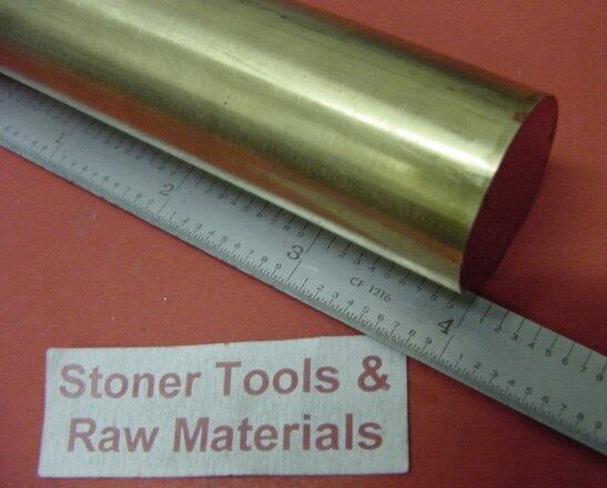 "1-1/2""  BRASS C360 SOLID ROUND ROD 4"" long New Lathe Bar Stock 1.50"" OD H02"