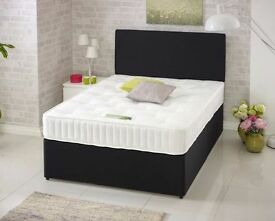 "DIVAN BED SET + 10"" OPEN SPRUNG MEMORY FOAM MATTRESS + HEADBOARD ALL SIZE'S & COLOUR CHOICE"