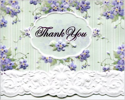 Carol Wilson Fine Arts Thank You Cards 10 Embossed Forget Me Not Purple Teal - Carol Wilson Fine Arts