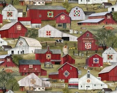 Scene Quilt Fabric - Headin' Home Fabric - Amish Quilt Barn & Farm Scene - Elizabeth's Studio YARD