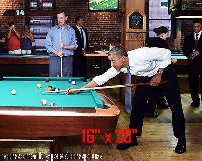 "President Obama~Playing Pool~Billiards~#5~Shooting Pool~Poster~Photo~ 16"" x  20"""