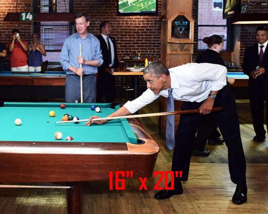 "President Obama~Playing Pool~Billiards~#8~Shooting Pool~Poster~Photo~ 16"" x  20"""