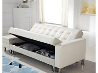 New White Faux Leather With Storage Space 3 Seater Sofa Bed (FREE LOCAL DELIVERY!!!)