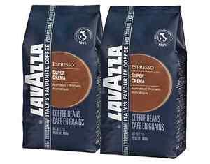 2 x LAVAZZA Super Crema ESPRESSO Kaffee 1000g Packung ganze Bohnen