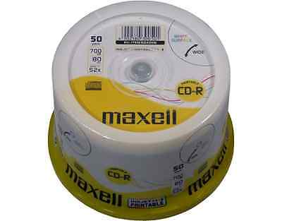 50 MAXELL CD-R 700MB 52x wide printable in Spindel