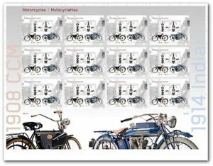 CANADA 2013 MOTORCYCLES 1914 INDIAN & 1908 CCM UnCut press sheet
