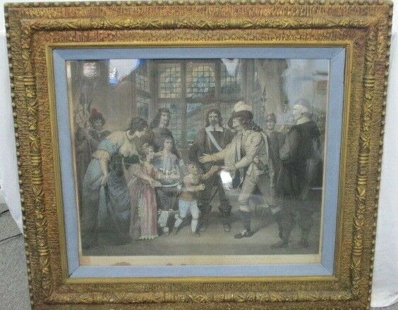 "Antique Colored Etching by William Sharp, ""The Interview of Charles...Cromwell"""