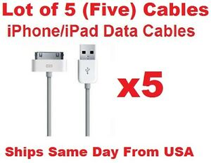 5x-Lot-of-5-USB-Sync-Data-Charging-Charger-Cable-Cord-for-Apple-iPad-2-3-HD