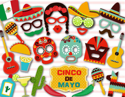Cinco De Mayo Props (29pcs Cinco de Mayo Mexico Party Photo Booth Prop Deco Supply Moustache Face M)