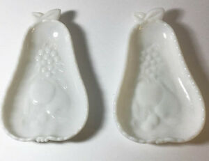 Set of Milk Glass Pears Shapeds Dishes,