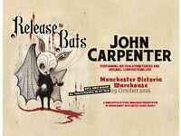 JOHN CARPENTER LIVE MANCHESTER SAT OCT 29TH £20.00