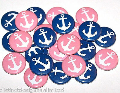 Gender Reveal Buttons (Nautical Anchors Pink Blue Gender Reveal Pins Buttons Party Favors -Set of)