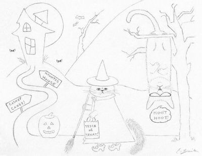 Halloween Cat Trick Or Treat Coloring Page Spooky Scene Cat Drawing Cat Cartoon - Halloween Coloring Page Cat