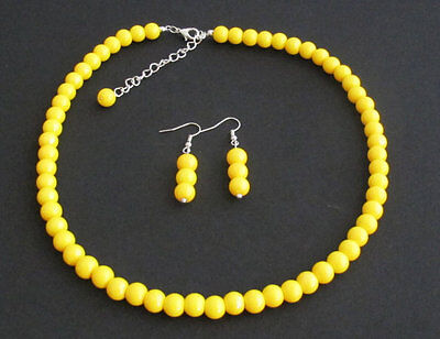 (Yellow pearl necklace set Wedding,bridesmaid necklace Yellow bead jewelry set )