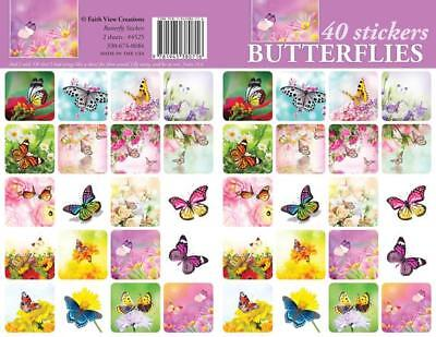 40- Butterfly Stickers For Scrapbooking or Envelopes Stunning Bright Vibrant  - Stickers For Scrapbooking