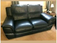 DFS Navy blue leather 2 seater sofa