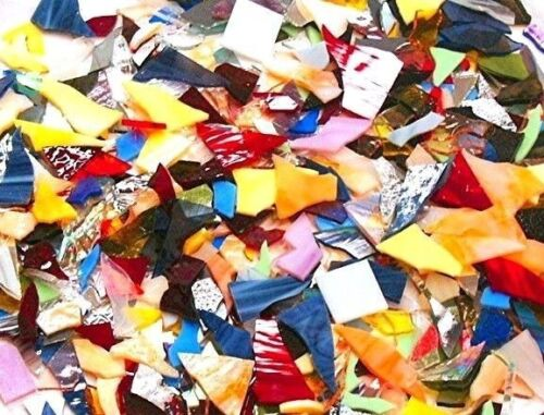 500+ LARGE PIECES PREMIUM Stained Glass Scrap 5 POUNDS Mosaic Tiles