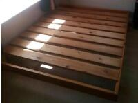 Solid wood pine king size bed frame