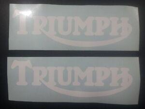 Triumph Tank vinyl cut sticker / decal pair, 150mm x 48mm White