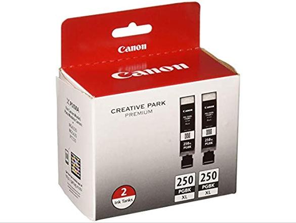 Canon PGI-250PGBK XL High-Capacity Pigment Black Ink Cartridge 2 Pack