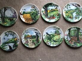 WEDGWOOD PLATE SET COUNTRY PANORAMA BOXED LIKE NEW VINTAGE ANTIQUE COTTAGE FARMHOUSE