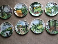 NICE WEDGWOOD PLATE SET COUNTRY PANORAMA BOXED LIKE NEW VINTAGE ANTIQUE COTTAGE FARMHOUSE
