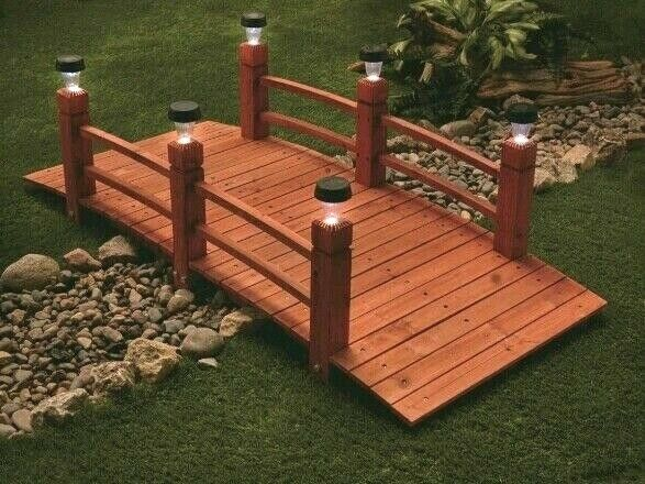 Solid Outdoor Bridge Wooden Backyard Garden Decor 6 Pillar Weather Resistant New 885344708450 Ebay