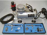 Mini Compressor and 2x Airbrush Kit.