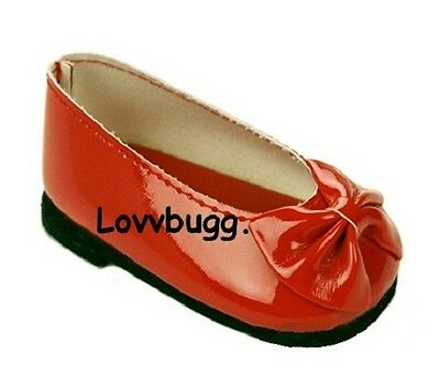 "Lovvbugg Red Patent Ballet Flats Bow for 18"" American Girl or Bitty Baby Doll Shoes"