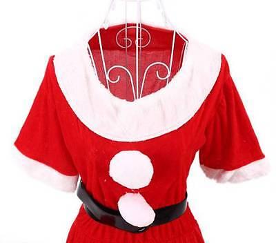 Xmas Santa Claus Velvet Costume Outfit Dress+Hat+Belt+Glove (Womens Christmas Outfits)