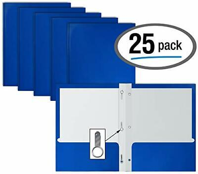 Glossy Blue Paper 2 Pocket Folders With Prongs 25 Pack Letter Size High Gloss