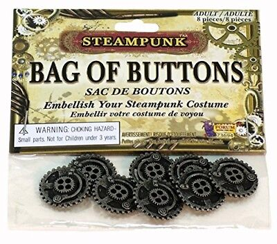 Bag of Steampunk Buttons - 8 Piece Set - Costume Cosplay Accessory