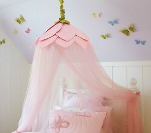 Pottery Barn Pink Flower Bed Canopy for kids